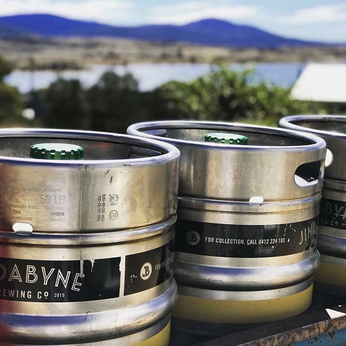Jindabyne Brewing Kegs with lake and mountain views