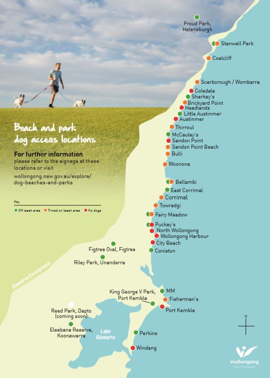 Wollongong Council  Dog Beaches and Parks Map
