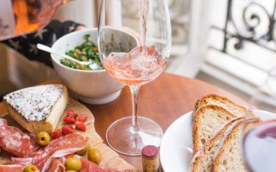 Antipasto and rose wine