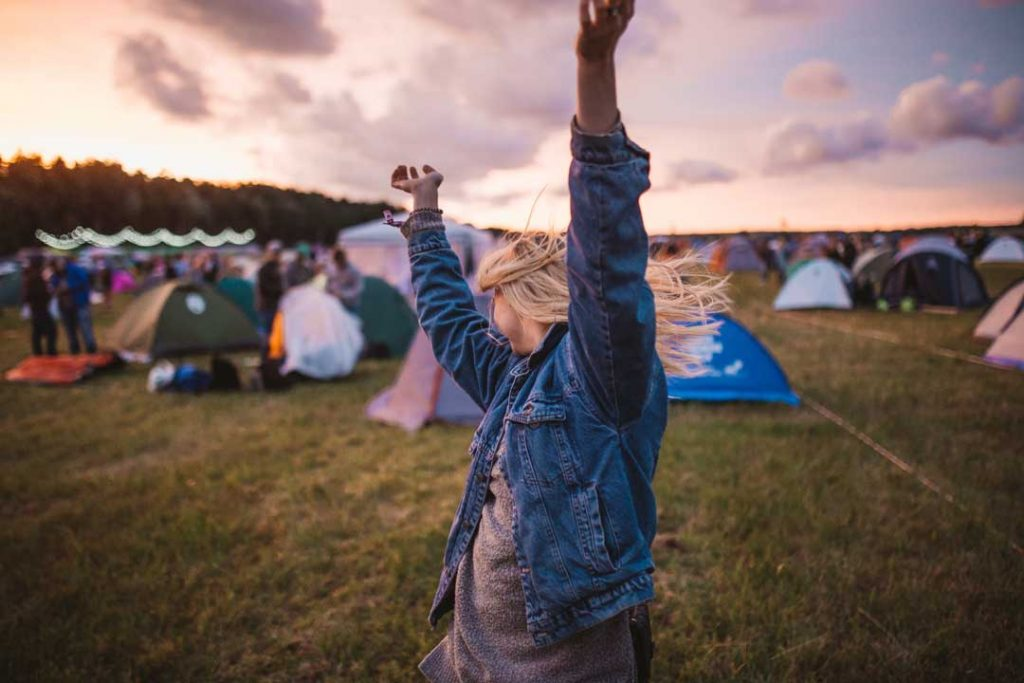 Festival girl at camp site