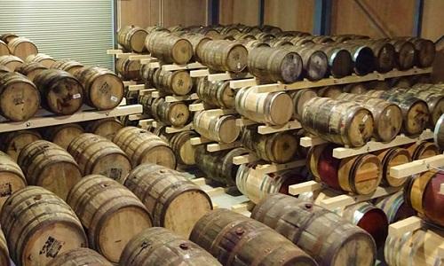 Distillery whisky barrels